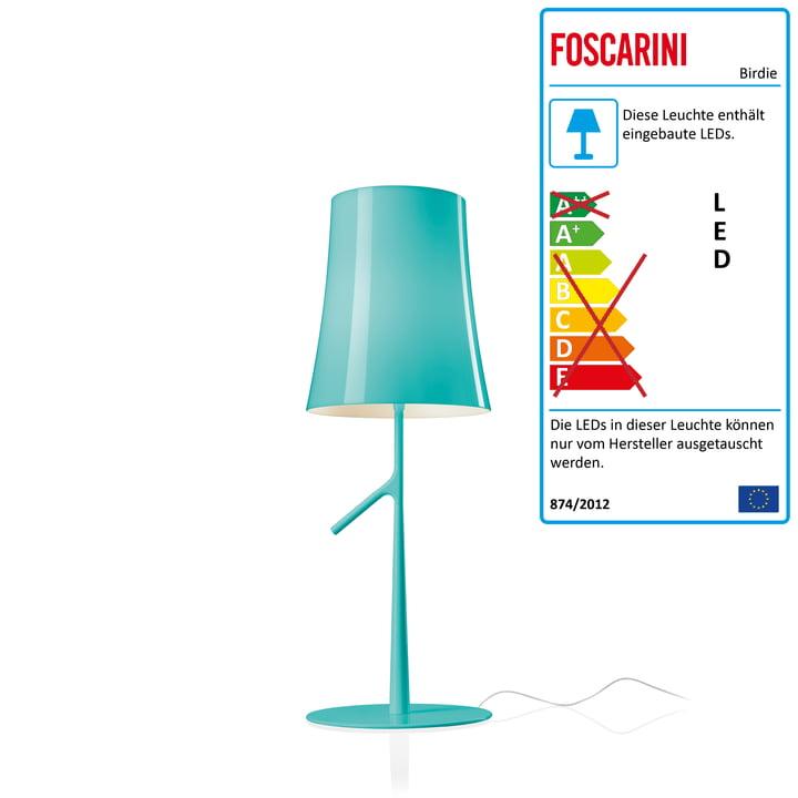 Birdie Piccola LED-Tischleuchte mit Dimmer von Foscarini in aqua