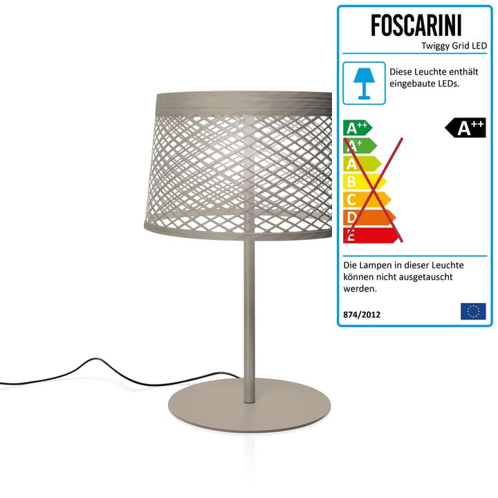 Twiggy Grid XL LED-Tischleuchte von Foscarini in greige