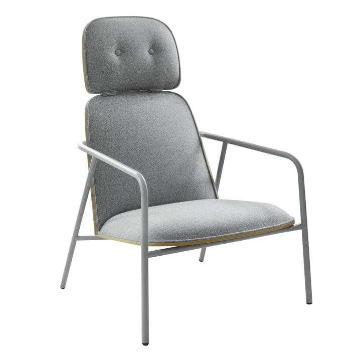 Pad Lounge Chair high von Normann Copenhagen in grau / Eiche / Main Line Flax 02