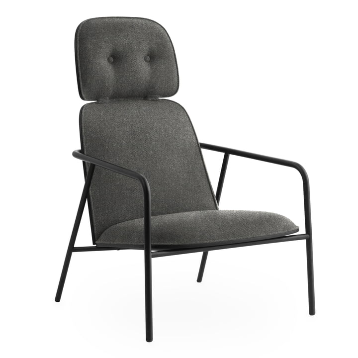 Pad Lounge Chair high von Normann Copenhagen in schwarz / Eiche schwarz / Main Line Flax 26