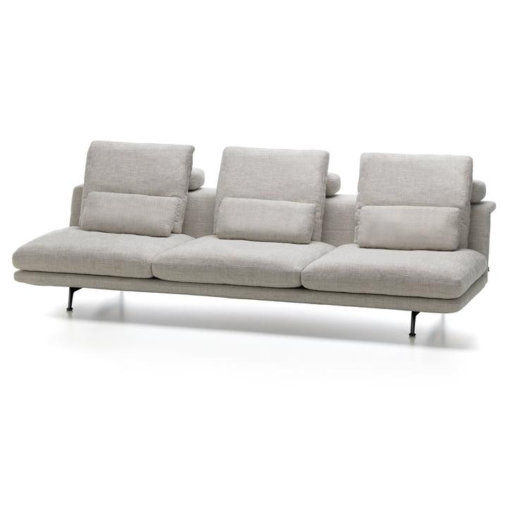 Grand Sofà 3,5-Sitzer, beidseitig bündig von Vitra mit Untergestell basic dark / Bezug Corsaro stone melange 05 (ohne Heftung)