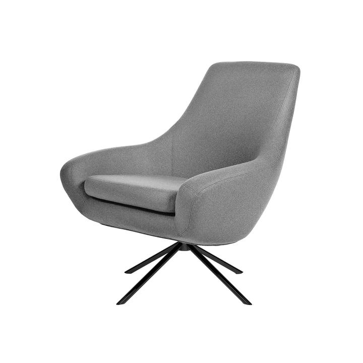 Noomi Lounge Sessel von Softline in Stahl schwarz lackiert / Filz Melange hellgrau (620)