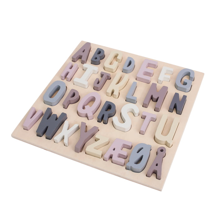 Wooden Puzzle ABC (dänisch) in midnight plum von Sebra