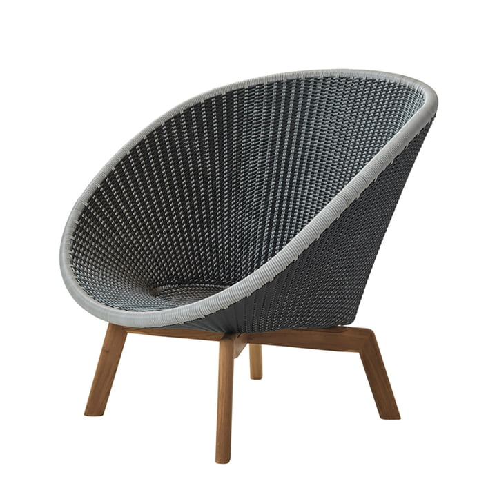 Peacock Lounge Sessel (5458) von Cane-line in Teak / grau / hellgrau