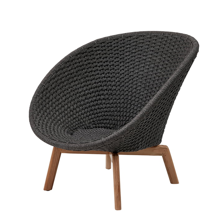 Peacock Lounge Sessel (5458) von Cane-line in Teak / dunkelgrau