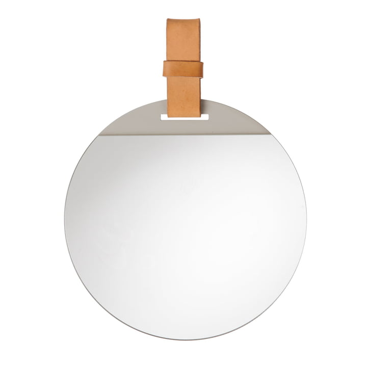 Enter Spiegel, Ø 45 x H 52 cm in Leder braun von ferm Living
