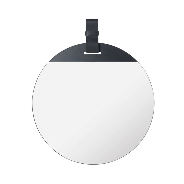 Enter Spiegel, Ø 45 x H 52 cm in Leder schwarz von ferm Living