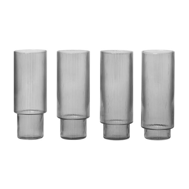 Ripple Longdrink-Gläser, smoked grey (4er-Set) von ferm Living