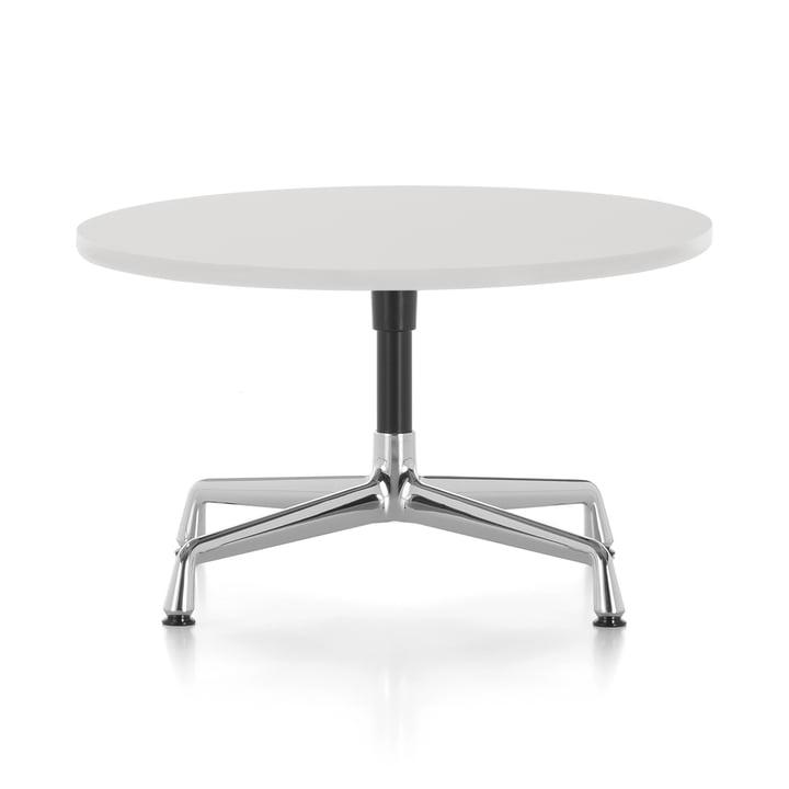 Eames Side Table Ø 70 x H 40 cm von Vitra in Aluminium poliert / basic dark / Melamin weiß