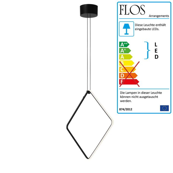 Arrangements LED Pendelleuchte, square / large, matt schwarz (inkl. Baldachin) von Flos
