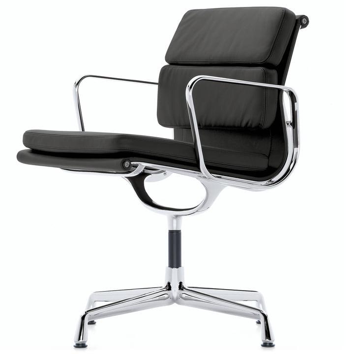 EA 208 Soft Pad Chair Aluminium poliert mit Armlehnen drehbar von Vitra in Leder Premium schwarz