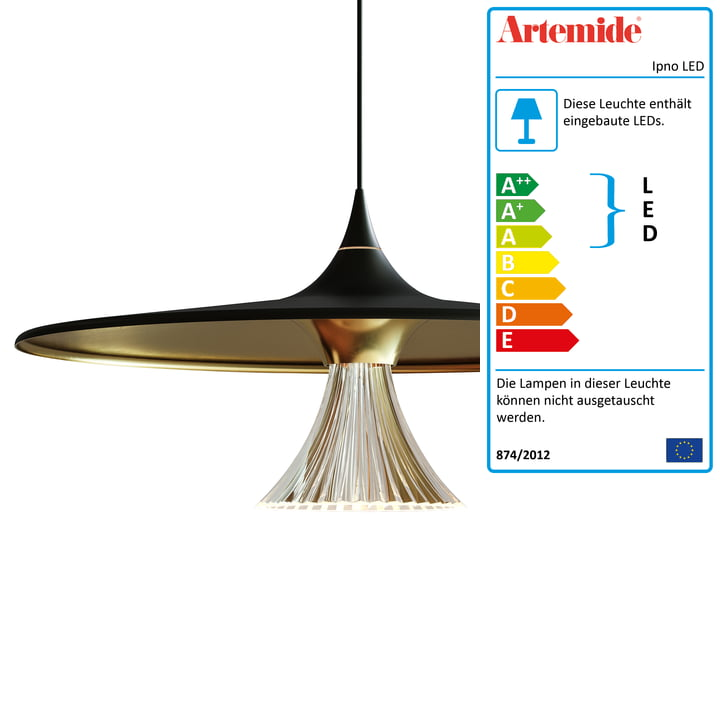 Ipno LED Pendelleuchte von Artemide in schwarz / gold