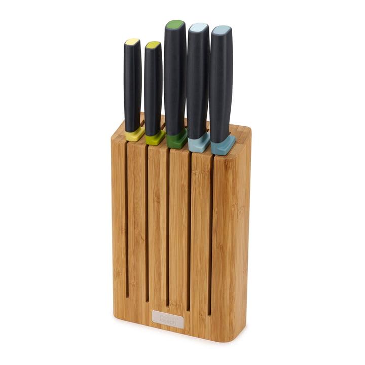 Elevate 5-teiliges Messerset mit Messerblock von Joseph Joseph in Bambus / Edelstahl