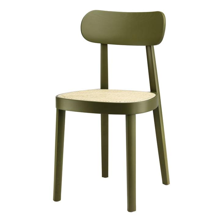 118 Stuhl von Thonet, Rohrgeflecht mit Kunststoffstützgewebe / Buche olivgrün gebeizt (RAL 6003)