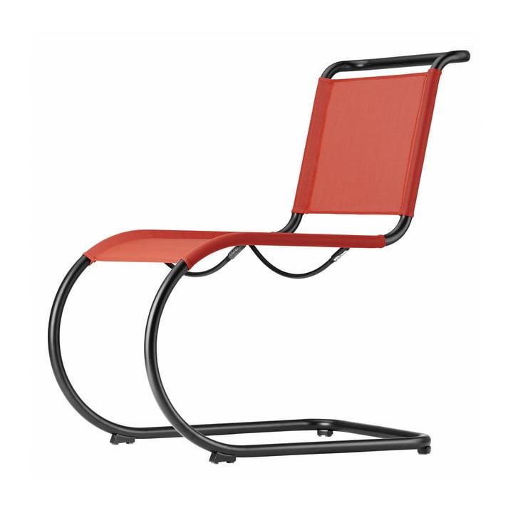 S 533 N Stuhl mit Gestell in schwarz (TS 9005) / Gewebe in kirsche (All Seasons) von Thonet