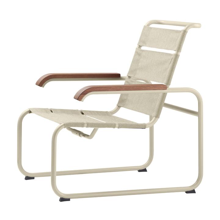 S 35 N All Season Sessel von Thonet mit Gestell warmgrau (TS 3005) / Gewebe natur / Armlehne Iroko