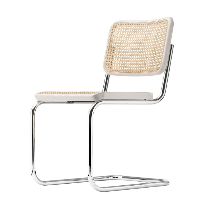S 32 V Stuhl von Thonet in Chrom / Buche weiß lasiert (TP 200) / Rohrgeflecht mit Stützgewebe