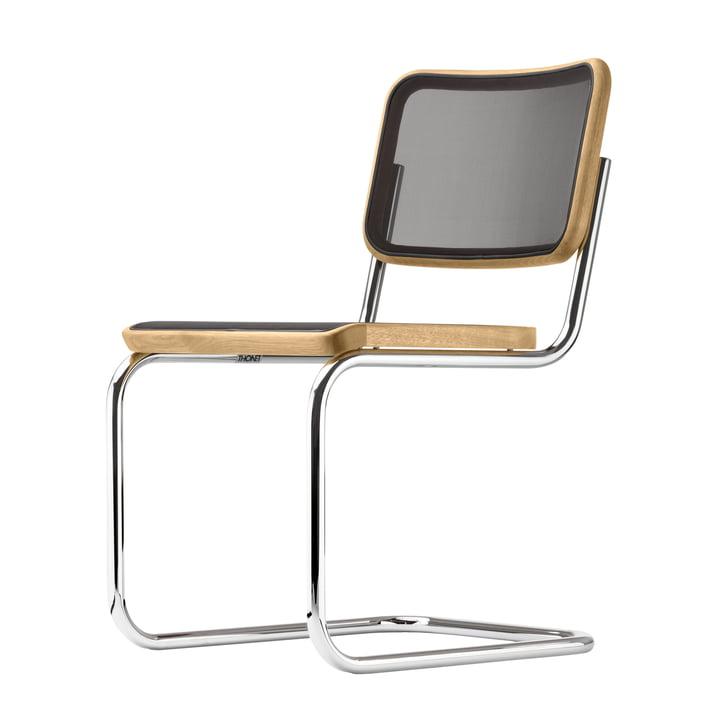 S 32 N Stuhl von Thonet in Chrom / Eiche / Netzbespannung schwarz (Pure Materials)