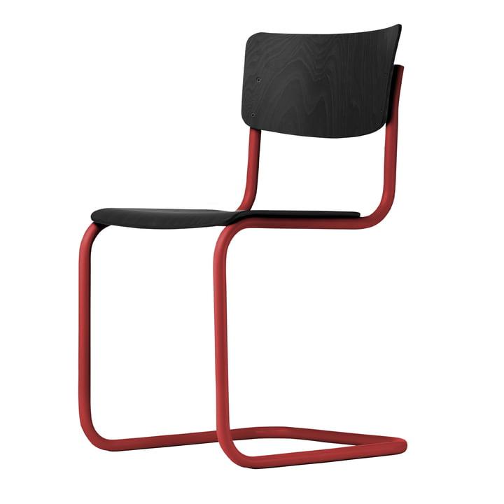 S 43 Stuhl von Thonet mit Gestell tomatenrot (TS 3013) / Buche schwarz gebeizt (TP 29)