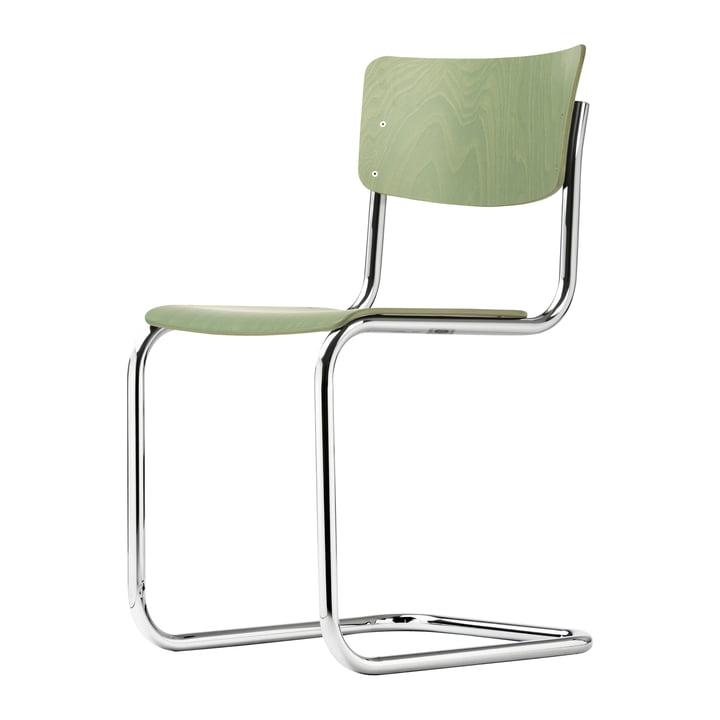 S 43 Stuhl von Thonet in Chrom / Buche schilfgrün gebeizt (TP 262)