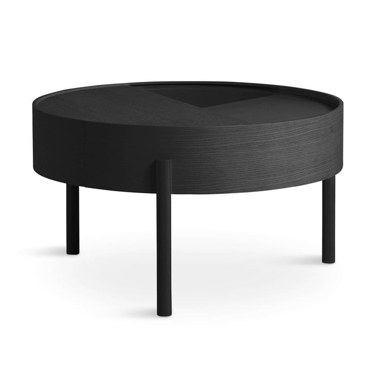 Arc Couchtisch Ø 66 cm H 38 cm von Woud in Esche schwarz lackiert