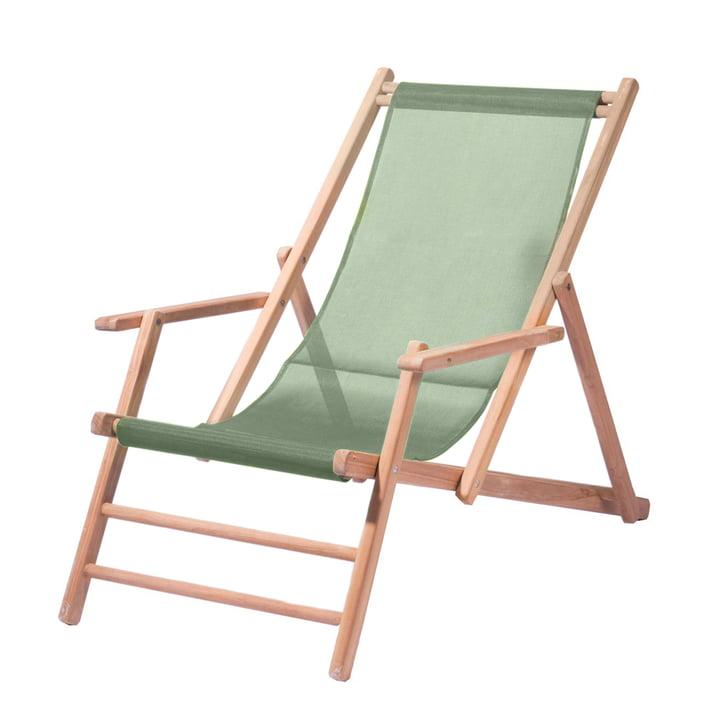 Maxx Deckchair von Jan Kurtz aus Teakholz mit Bezug Kunststoffgewebe salbei