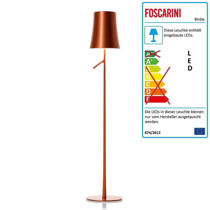 Birdie Lettura LED-Stehleuchte mit Dimmer von Foscarini in Kupfer