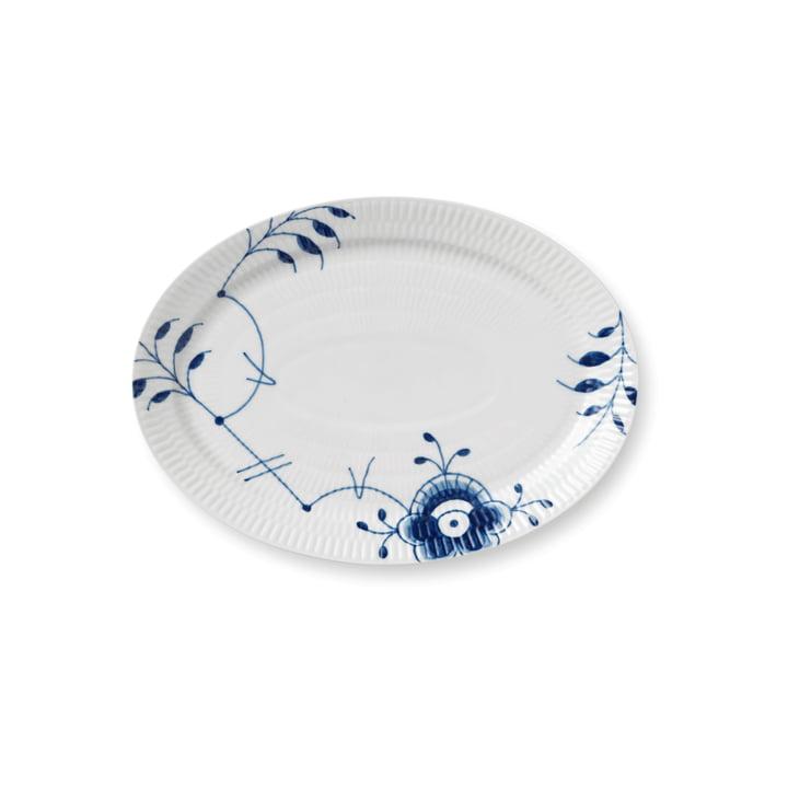 Mega Blau Gerippt Servierplatte oval 28 cm von Royal Copenhagen