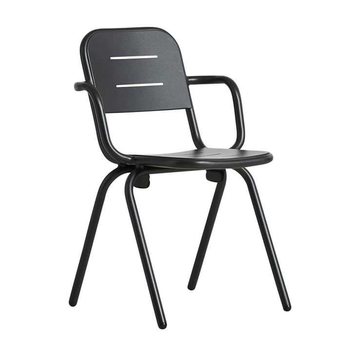 Ray Café Armchair von Woud in charcoal