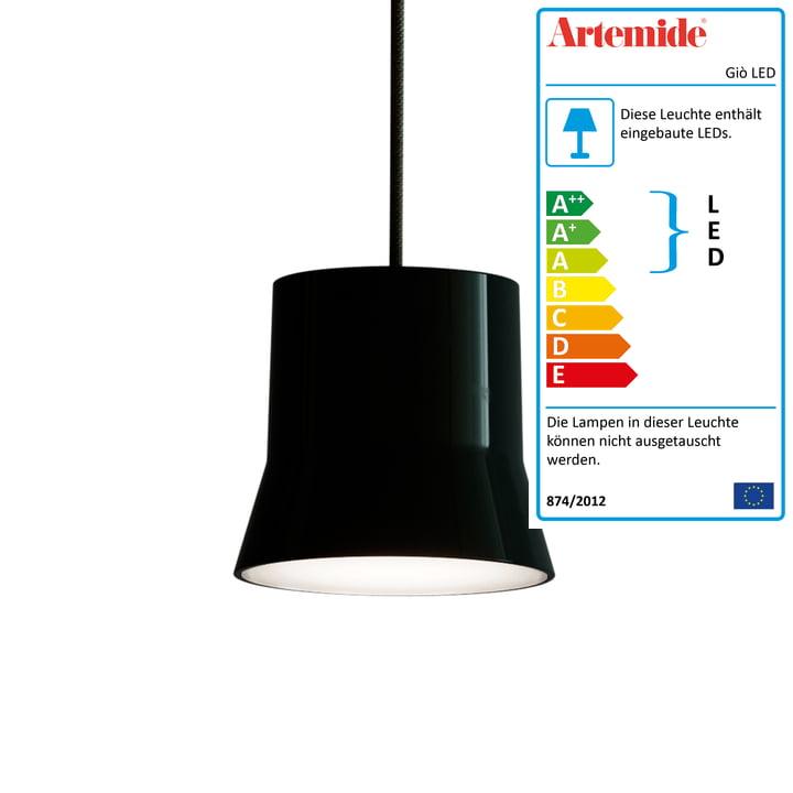 Giò LED-Pendelleuchte von Artemide in schwarz