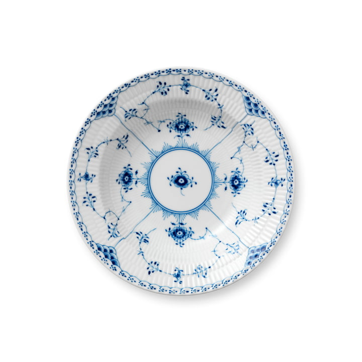 Musselmalet Halbspitze Suppenteller tief, Ø 21 cm in weiß / blau von Royal Copenhagen