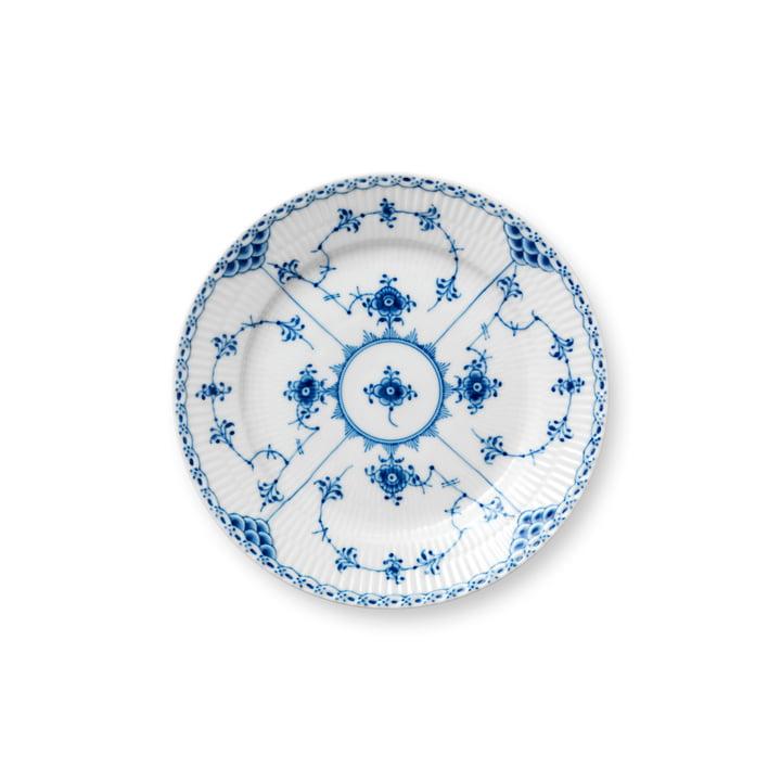 Musselmalet Halbspitze Teller flach, Ø 19 cm in weiß / blau von Royal Copenhagen