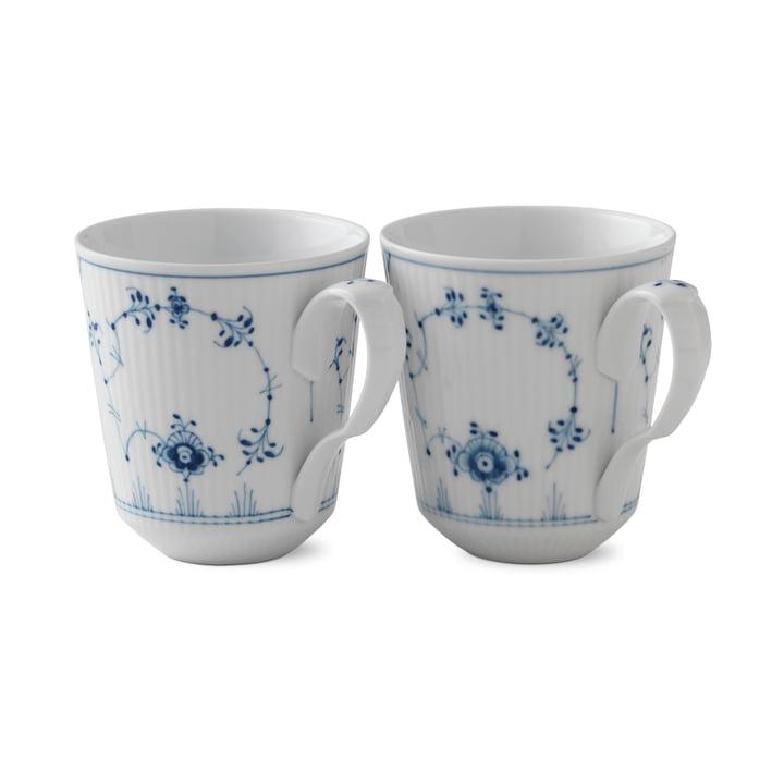 Musselmalet Gerippt Becher 37 cl in weiß / blau (2er-Set) von Royal Copenhagen