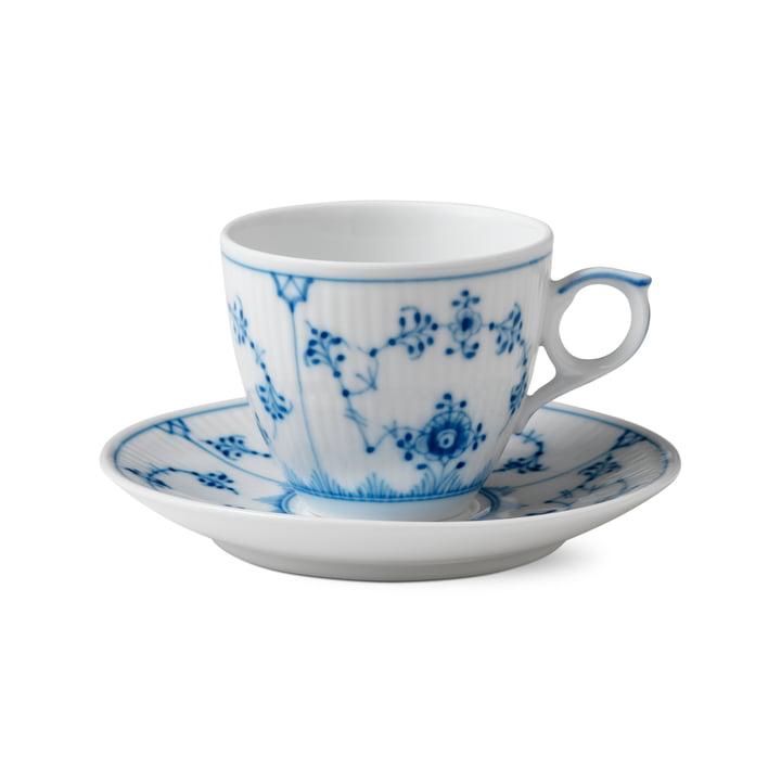 Musselmalet Gerippt Espressotasse mit Untertasse 10 cl in weiß / blau von Royal Copenhagen