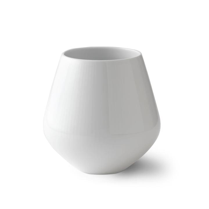 Weiß Gerippt Vase mittel H 15 cm von Royal Copenhagen