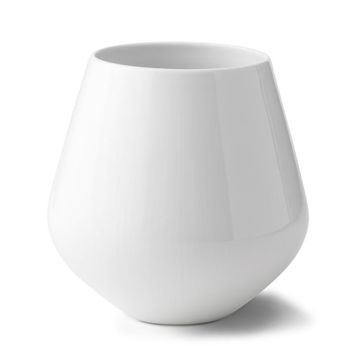 Weiß Gerippt Vase groß H 20,5 cm von Royal Copenhagen