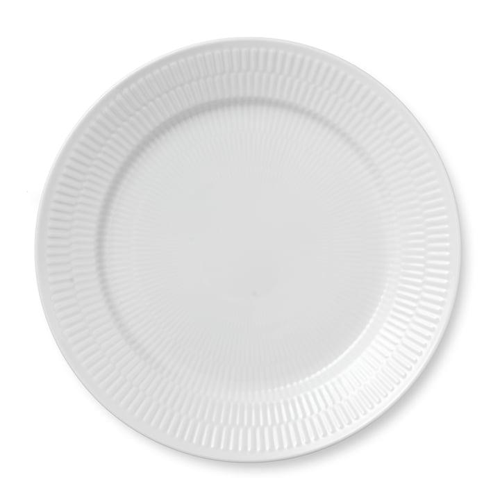 Weiß Gerippt Teller flach, Ø 27 cm von Royal Copenhagen