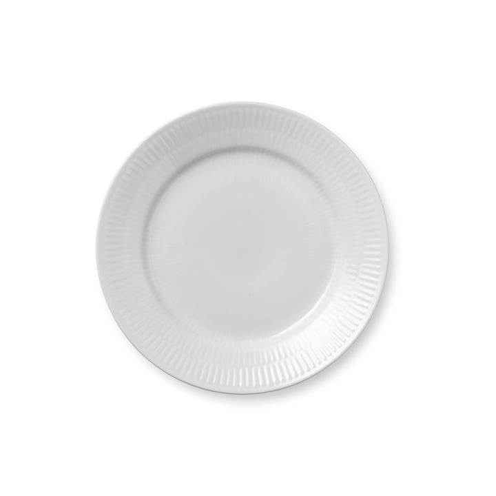 Weiß Gerippt Frühstücksteller flach, Ø 19 cm von Royal Copenhagen