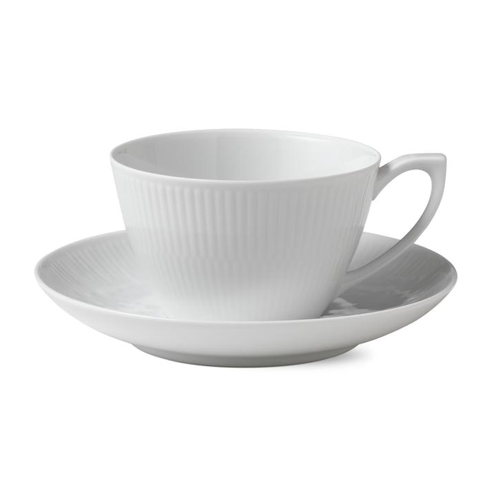 Weiß Gerippt Tasse mit Untertasse 28 cl von Royal Copenhagen