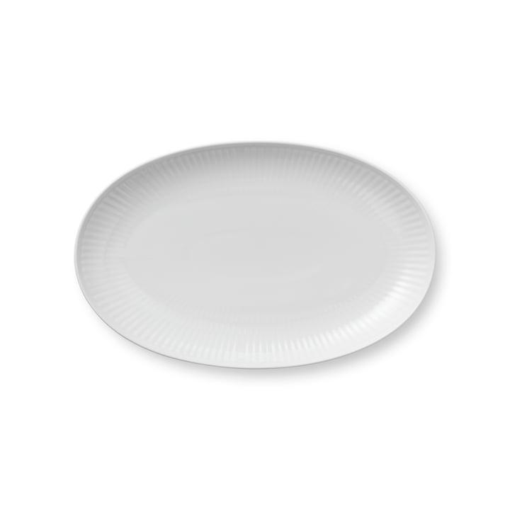 Weiß Gerippt Servierplatte oval 23 cm von Royal Copenhagen