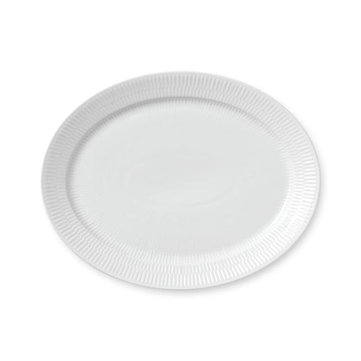 Weiß Gerippt Servierplatte oval 33 cm von Royal Copenhagen