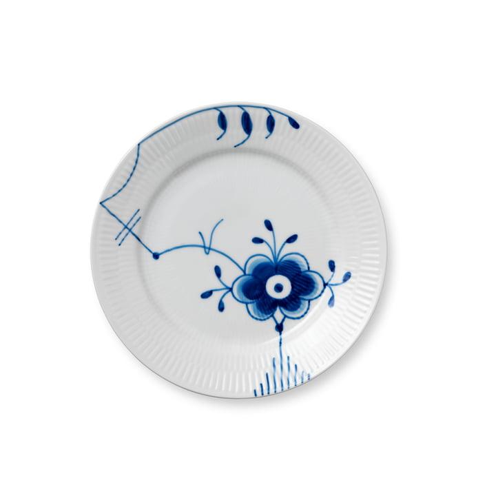 Mega Blau Gerippt Frühstücksteller flach Ø 19 cm von Royal Copenhagen mit Dekor Nr. 6