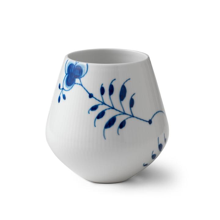 Mega Blau Gerippt Vase mittel H 15 cm von Royal Copenhagen