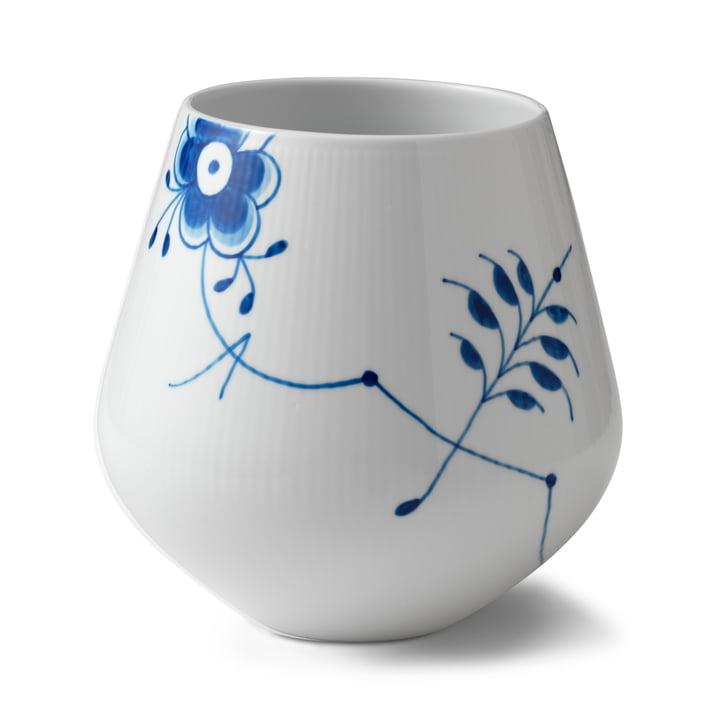 Mega Blau Gerippt Vase groß H 20,5 cm von Royal Copenhagen
