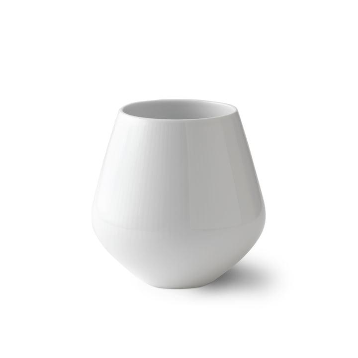 Weiß Gerippt Vase klein H 12 cm von Royal Copenhagen