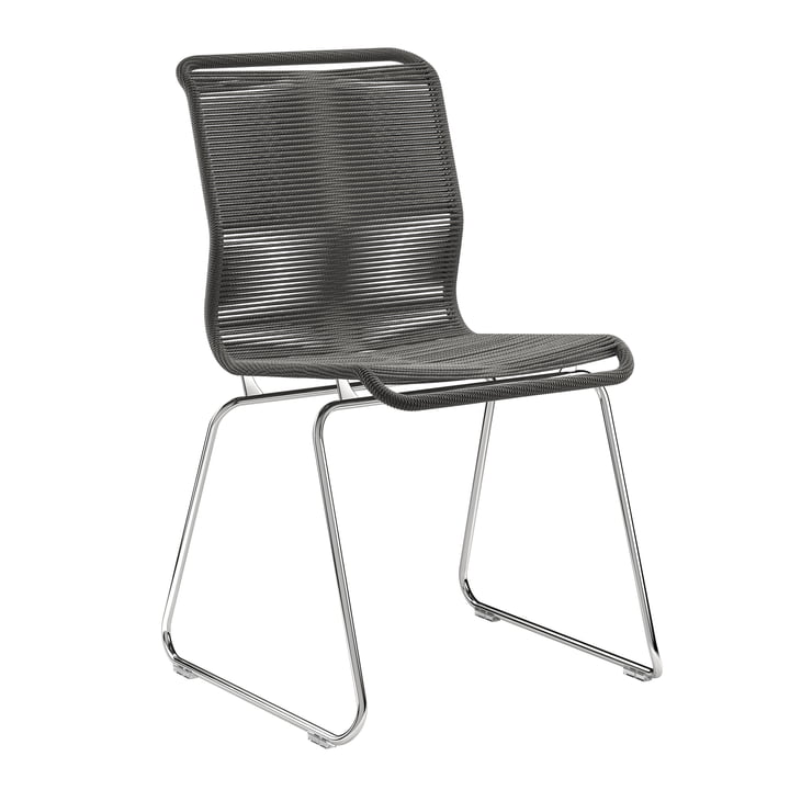 Panton One Stuhl von Montana in Papierschnur schwarz / Chrom