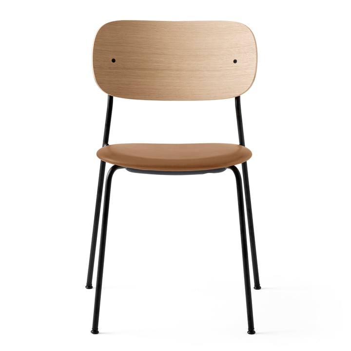 Co Dining Chair in schwarz / Leder braun / Eiche natur von Menu