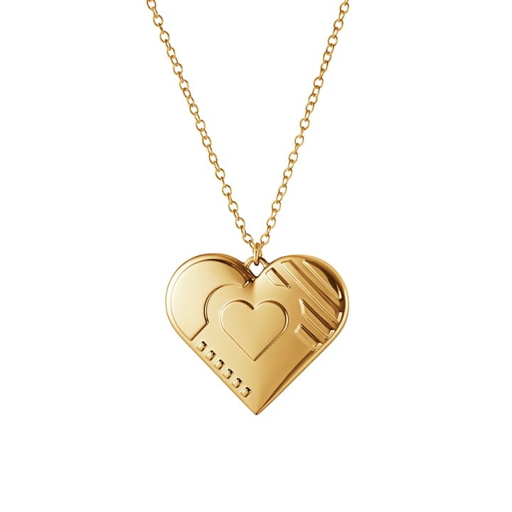Ornament Anhänger 2019 Herz, gold von Georg Jensen