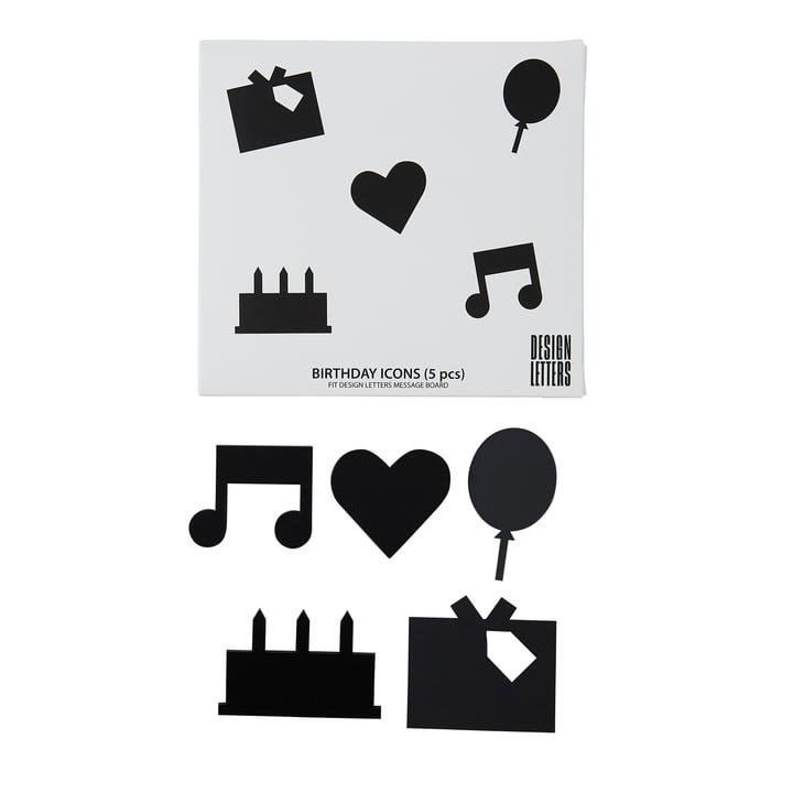 Organise with Icons, Happy Birthday in schwarz von Design Letters