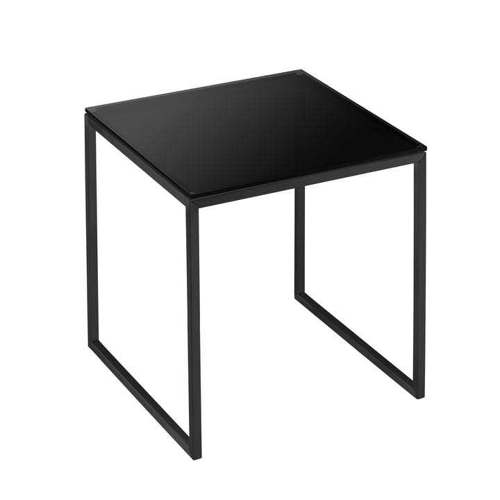 Less H 22/2 Beistelltisch Kufengestell von Hans Hansen in schwarz / Tischplatte Glas schwarz